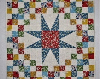 """Retro 1930s Quilted Table Topper, Scrappy Star Table Mat, Floral Feedsack Table Topper, Spring Table Mat, 30""""x30"""", Quiltsy Handmade"""