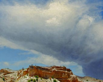 Archival Print 'Afternoon Cloud' Original Oil Painting by Jurgen Wilms, 8x10 inches, Southwestern Landscape Painting, Stones, Rocks