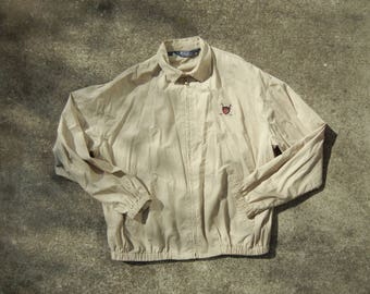 tan vintage mens 90's Polo Ralph Lauren POLO GOLF tan lightweight harrington preppy casual jacket (size XL/ extra large)