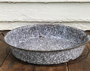 """graniteware pan ~ missing 1 handle ~ 12"""" enamelware pan ~ primitive antique ~ distressed bowl ~ flower pot ~ farmhouse antique"""