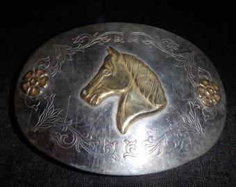 vintage nickel silver horse head western belt buckle