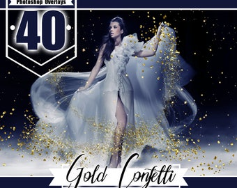 40 Gold Foil Confetti overlay clip art, blowing glitter, wedding birthday party overlays, Photoshop overlays, glitter dust effect, png file