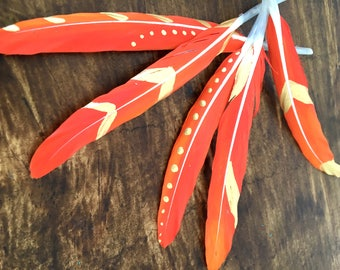 Hand painted feathers - Feather supplies - DIY feather craft - Boho style feathers - Hand painted feather craft - Orange feathers