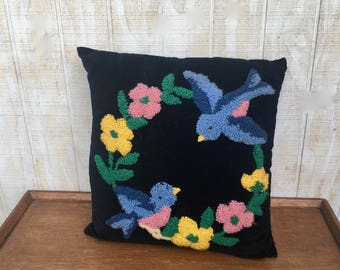 Mid-Century Velvet Crewel Stitched Pillow, Mid-Century Pillow With Blue Birds and Flowers