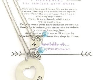 Mother Daughter Necklaces - First Day of School - Separation Necklace - Divorced Parents Necklace - Back To School Necklace
