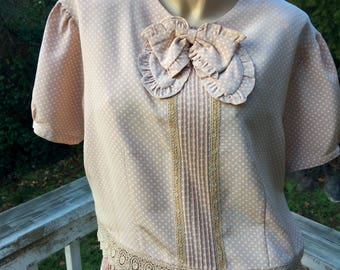 30s 40s Style Vintage Blouse Skirt Dress Lace Cottage Chic Polka Dots Pleated Skirt Set