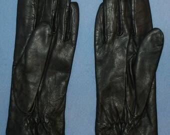 Womens Vtg Black Leather Grandoe Gloves Soft Acrylic Lining Sz S New