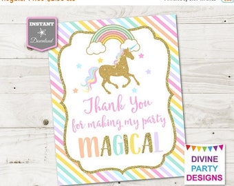 SALE INSTANT DOWNLOAD Printable Unicorn 8x10 Thank You for Making My Party Magical Sign / Unicorn Collection / Item #3506