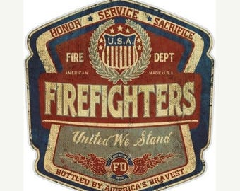 15% OFF SALE Vintage Firefighters United We Stand 6 Inch Decal SKU: Ff2099-D6