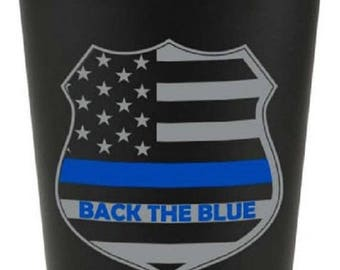 15% OFF SALE Back The Blue Thin Blue Line Matte Black Stainless Steel Pint Cup SKU: Gw691