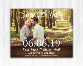 Photo Save The Date Magnet or Card DIY PRINTABLE Digital File or Print (extra) Wood Save The Date Country Save The Date