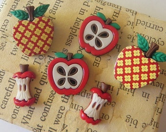 Apple Button Collection Sew Thru and Shank Buttons Teacher's Pet