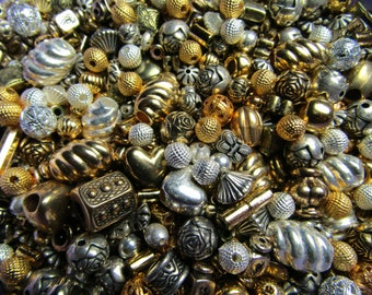 4 oz Ounce Destash Random Bead Assortment Gold Silver Plate and Colors Assorted Styles Size Jewelry Making and Bead Craft Projects All Sizes