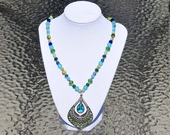 Dazzling Blue, Green, and Gold Beaded Necklace