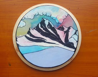 Drawn Snow-Capped Mountain on Plaque