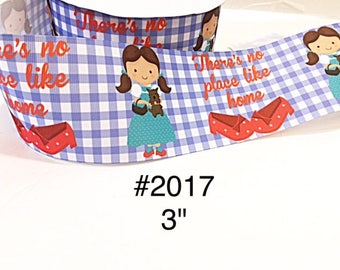 "2/3/5 yard - 3"" Wizard Of Oz Dorothy There's No Place like home on Blue Checker Jumbo Grosgrain Ribbon Cheer Bow"