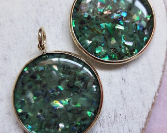 Round Gold Circle Shell Pendants Jewelry Making Supplies