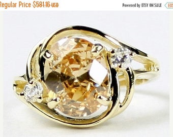 On Sale, 30%Off, Champagne Cubic Zirconia (CZ), 14KY Gold Ring, R021