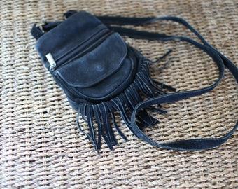 vintage  black suede fringe purse
