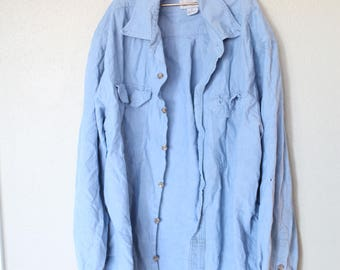 vintage distressed carhartt oversized blue chambray industrial  shirt