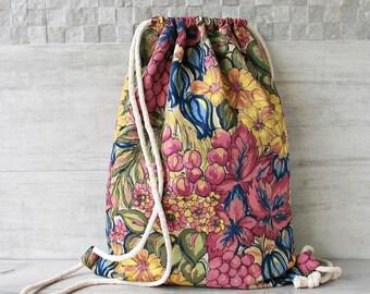 Linen Boho Backpack ,Canvas Drawstring bag , Bohemian Crossbody Purse,