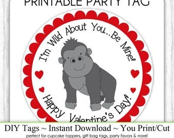 Instant Download -  Valentine's Day Printable Party Tags, Valentine Gorilla Cupcake Topper, DIY, You Print, You Cut, Gorilla Valentine Tags