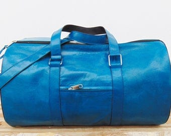 Blue Turquoise Leather Duffel Bag for Women & Men, Kit Gym Luggage Sports Ditty Travel Weekend Bag, gift for her and him, Birthday Gift