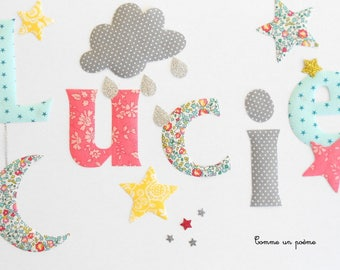 Large applied fusible name girl theme cloud Moon Star liberty eloise turquoise