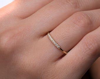 9 diamonds ring, Diamond bar ring, Dainty bar ring,  Black diamonds ring, Eternity ring, Rose gold ring, Natural diamonds, 1.80mm width