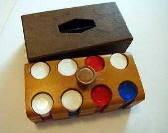 Vintage poker chip set, vintage poker set, poker chip carrier