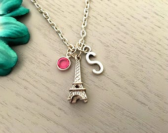 Eiffel Tower Charm Necklace, Personalised Necklace, Silver Eiffel Tower Charm, Paris Necklace, Swarovski Crystal Birthstone, Necklace