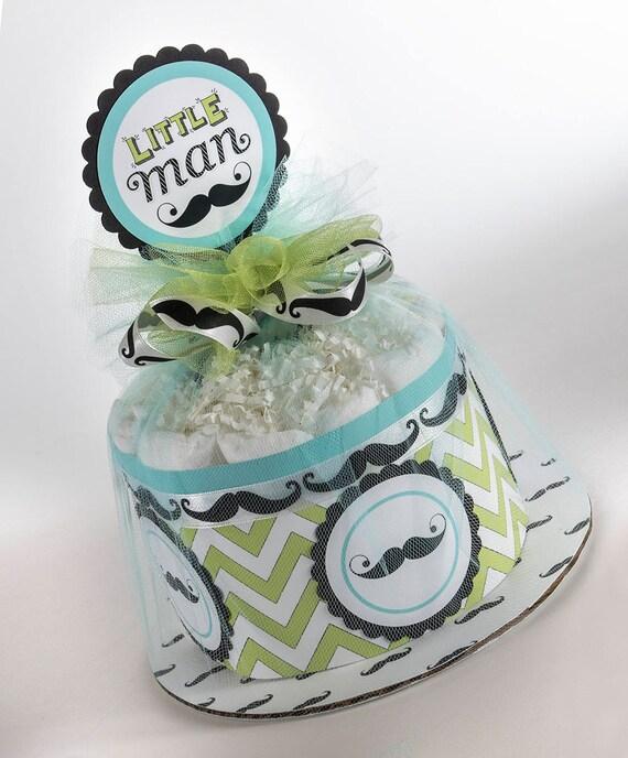 Diaper Cake - Mini Diaper Cake  - Little Man Diaper Cake - Mustache Diaper Cake - Baby Shower Centerpeice -  Little Man Baby Shower