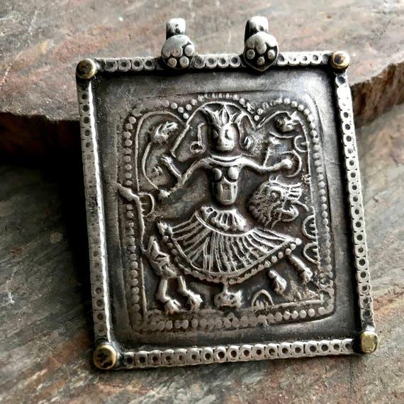 Antique Durga Pendant - Rajasthan Dirga Pendant - Goddess Durga - Antique Hindu Amulet  - Yoga Jewelry - Hindu Dieti - Spiritual Amulet