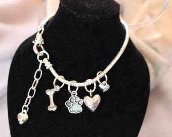 Puppy Love - Silver Snake Chain Bracelet with Paw Print/Dog Bone/Heart Charms