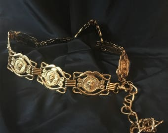 "Vintage Gold Tone Metal Lion Heads Adjustable Chain Belt, Made By Horwill NY, 38"" x 2"", Metal Lion Head Adjustable Chain Belt"