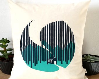 "Cottage Forest Cabin Screen Print Cushion sized approx. 12""x12"""