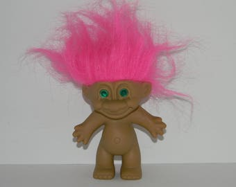 Vintage Russ Pink Hair Green Eyes Troll Doll 5""