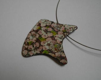 """Cherry blossom"" pendant necklace asymmetrical cherry enamels on copper flower pattern"