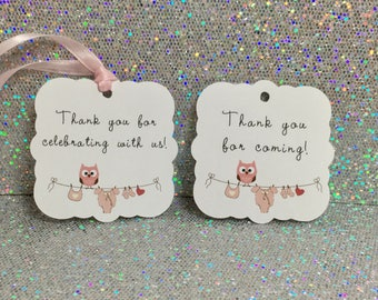 Baby shower favors, Baby shower tags, Set of 12, Thank you tags, Thank you for coming, Baby shower gift tags, Baby girl, Pink, Celebrating