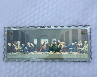 Early 1900s Vintage Ornate Glass The Last Supper Wall Hanging, Scalloped Edge Glass Last Supper Wall Art, Religious, Foil Art Mercury Glass