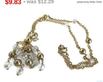ON SALE! Crystal Chandelier Necklace Vintage Gold Tone Retro Costume Jewelry Necklace