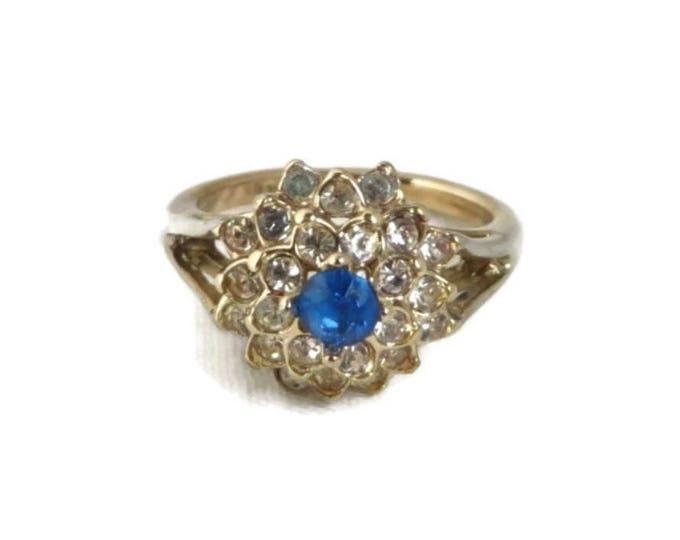 Sapphire Glass Cocktail Ring, Vintage 14K Gold Electroplated Ring, Blue and White Rhinestone Ring, Size 7.25, FREE SHIPPING