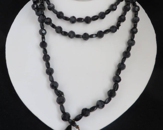 Black Bead Mourning Necklace, Vintage Flapper Necklace, Belt, FREE SHIPPING