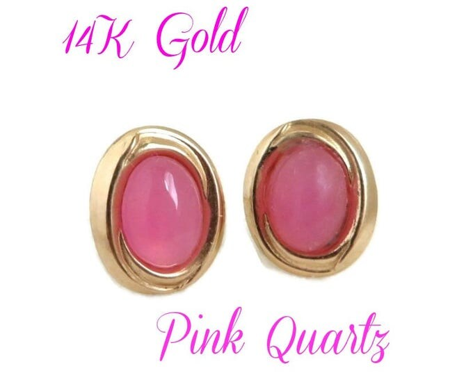 14K Gold Pierced Earrings - Vintage Pink Quartz Earrings, Oval Gold Pierced Studs, Perfect Gift, Gift Box, FREE SHIPPING