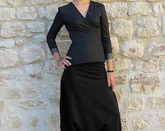 Black Sarrouel sweater fabric Cotton spandex