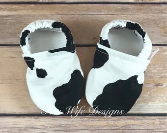 Cow Print Black and White Soft Sole Baby Shoes, Crib Shoes, Baby Slippers, Baby Booties, Baby Mocs, Vegan Baby Shoes