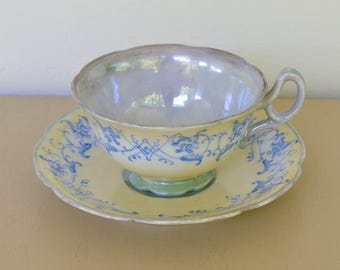 Tea Cup, Birthday Tea Cup, Blue and Yellow