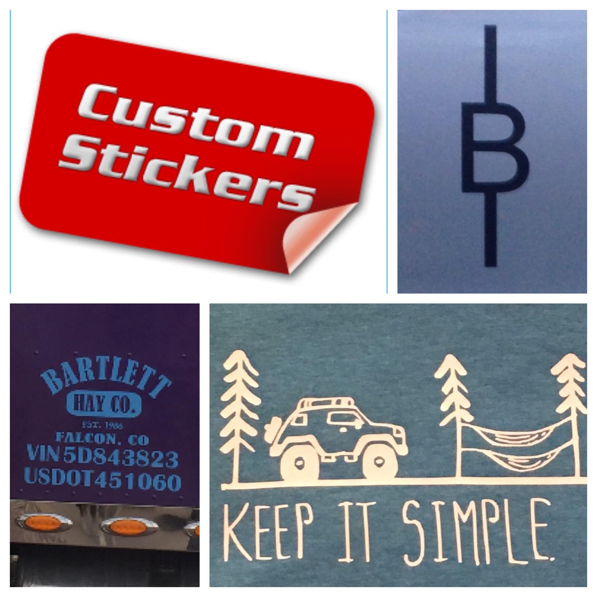 Custom Decal Vinyl Cutouts Bumper Stickers DOT VIN Numbers - Custom vinyl cutout stickers