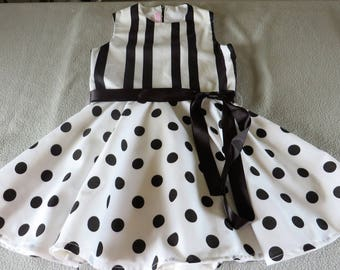Stripe and black and white polka dots dress (3 years)