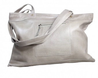 """Taupe large khaki """"Downtown"""" oversize leather tote bag"""